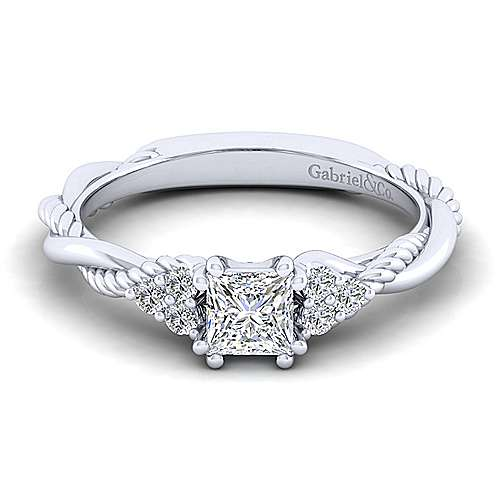 Gabriel - Catalina 14k White Gold Princess Cut Twisted Engagement Ring