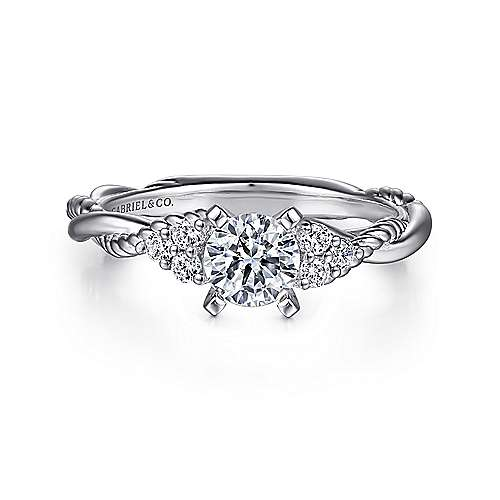 Gabriel - Catalina 14k White Gold Round Twisted Engagement Ring b49e93340