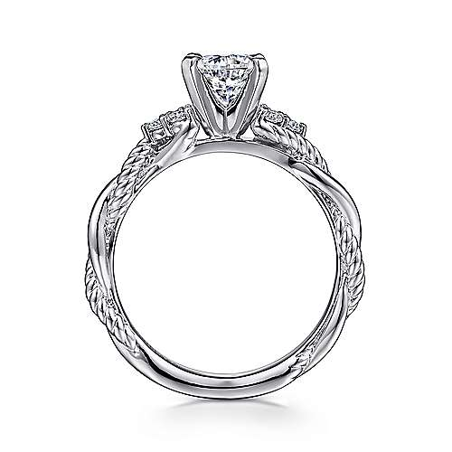 Catalina 14k White Gold Round Twisted Engagement Ring angle 2