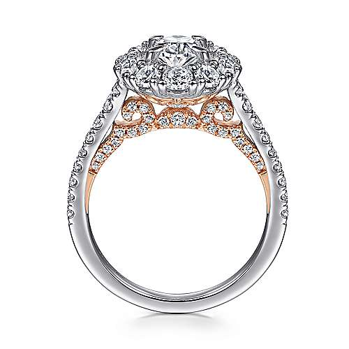 Cate 14k White And Rose Gold Oval Double Halo Engagement Ring angle 2