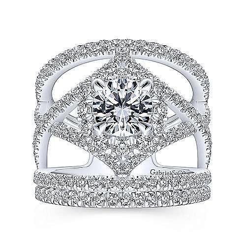 Catena 14k White Gold Round Halo Engagement Ring angle 4