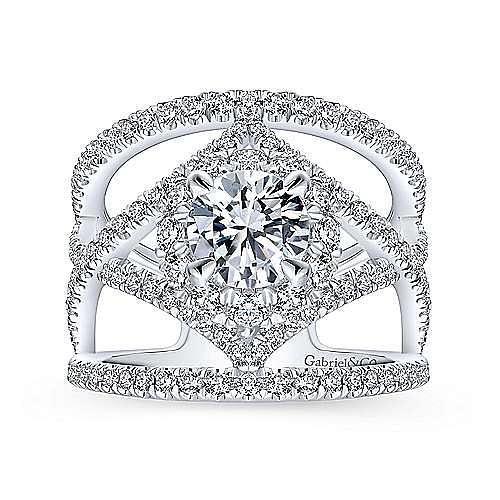 Catena 14k White Gold Round Halo Engagement Ring angle 5