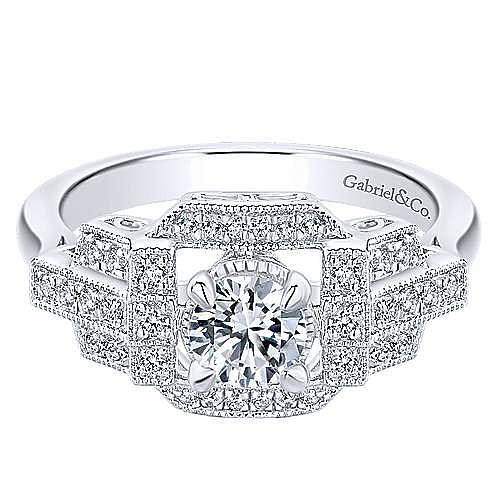 Gabriel - Cavoli 14k White Gold Round Halo Engagement Ring