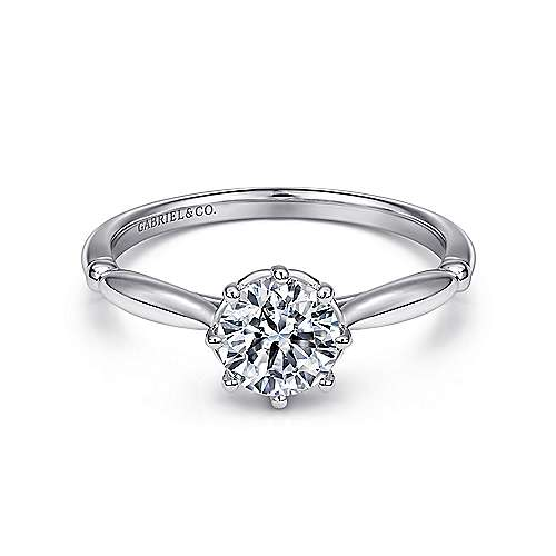 Cecily 18k White Gold Round Solitaire Engagement Ring angle 1