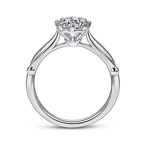 Cecily 18k White Gold Round Solitaire Engagement Ring angle 2