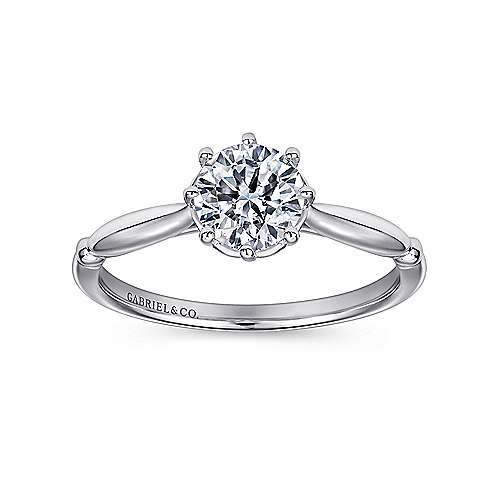 Cecily 18k White Gold Round Solitaire Engagement Ring angle 5