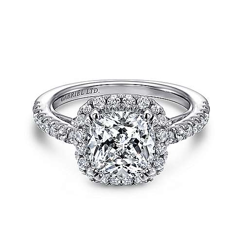 Ceira 18k White Gold Cushion Cut Halo Engagement Ring angle 1
