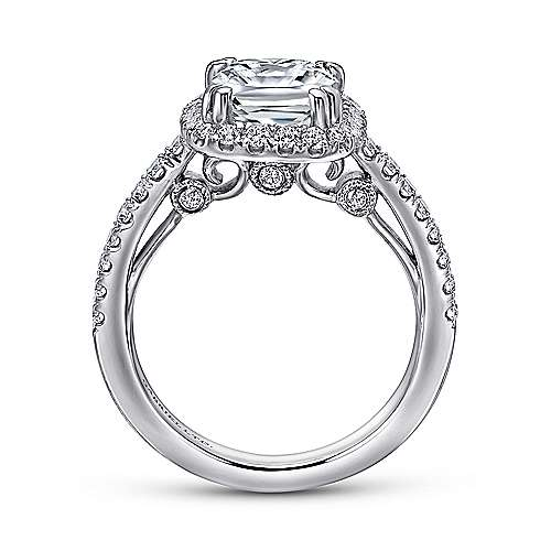 Ceira 18k White Gold Cushion Cut Halo Engagement Ring angle 2