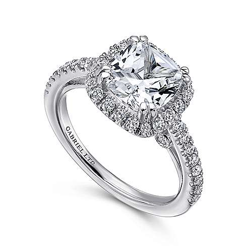 Ceira 18k White Gold Cushion Cut Halo Engagement Ring angle 3