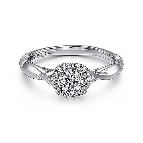 Gabriel - Celeste 14k White Gold Round Halo Engagement Ring