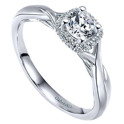 Celeste 14k White Gold Round Halo Engagement Ring angle 3