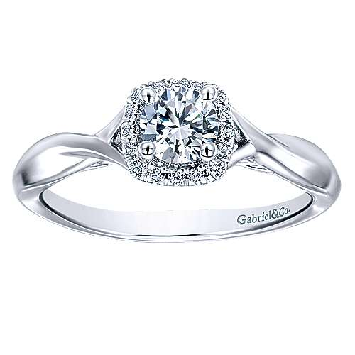 Celeste 14k White Gold Round Halo Engagement Ring angle 5
