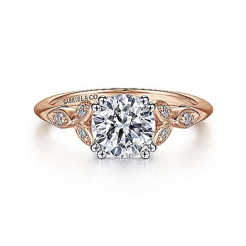 Gabriel - Celia 14k White And Rose Gold Round Straight Engagement Ring