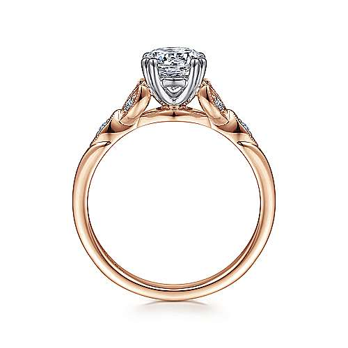 Celia 14k White And Rose Gold Round Straight Engagement Ring angle 2
