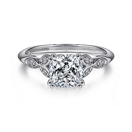 Gabriel - Celia 14k White Gold Cushion Cut Straight Engagement Ring