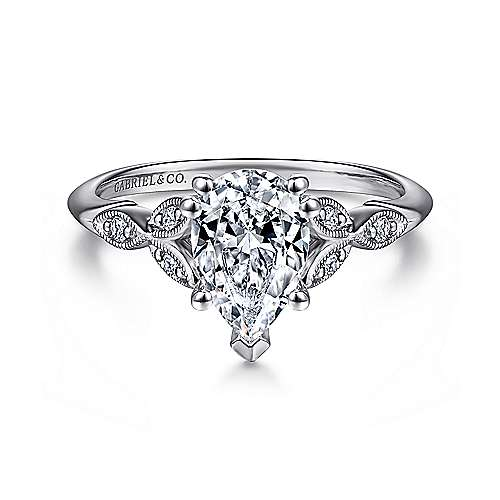 Gabriel - Celia 14k White Gold Pear Shape Straight Engagement Ring