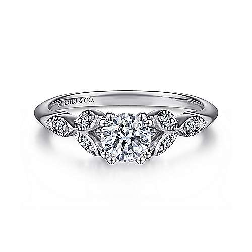 Gabriel - Celia 14k White Gold Round Straight Engagement Ring