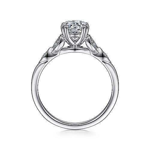 Celia 14k White Gold Round Straight Engagement Ring angle 2