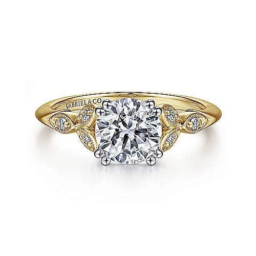 Gabriel - Celia 14k Yellow And White Gold Round Straight Engagement Ring