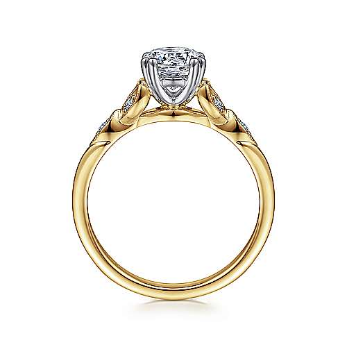 Celia 14k Yellow And White Gold Round Straight Engagement Ring angle 2