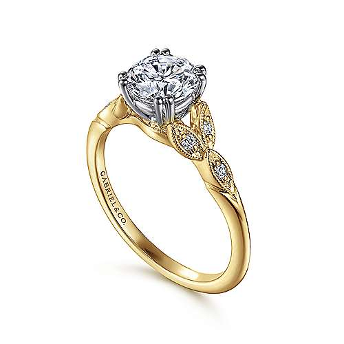 Celia 14k Yellow And White Gold Round Straight Engagement Ring angle 3