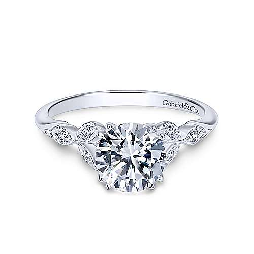 Gabriel - Celia 18k White Gold Round Straight Engagement Ring