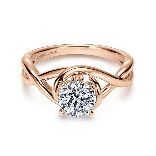 Celine 14k White And Rose Gold Round Twisted Engagement Ring angle 1