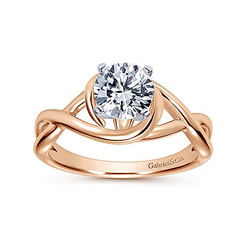 Celine 14k White And Rose Gold Round Twisted Engagement Ring angle 5