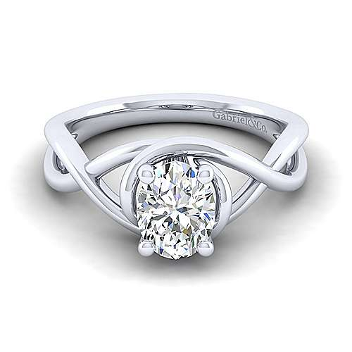 Gabriel - Celine 14k White Gold Oval Twisted Engagement Ring