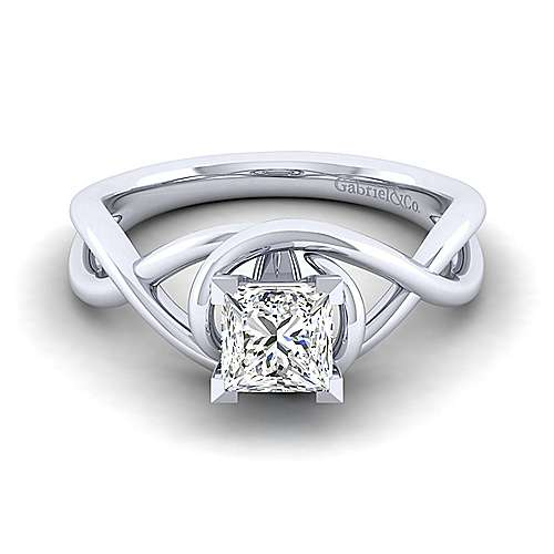 Gabriel - Celine 14k White Gold Princess Cut Twisted Engagement Ring