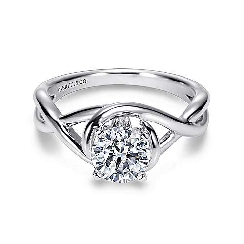 Gabriel - Celine Platinum Round Twisted Engagement Ring