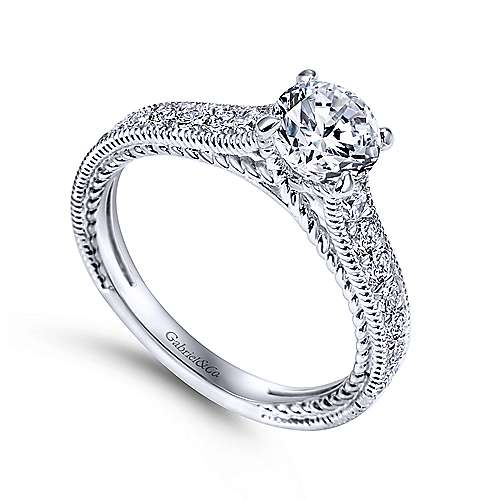 Cerulean 14k White Gold Round Straight Engagement Ring angle 3