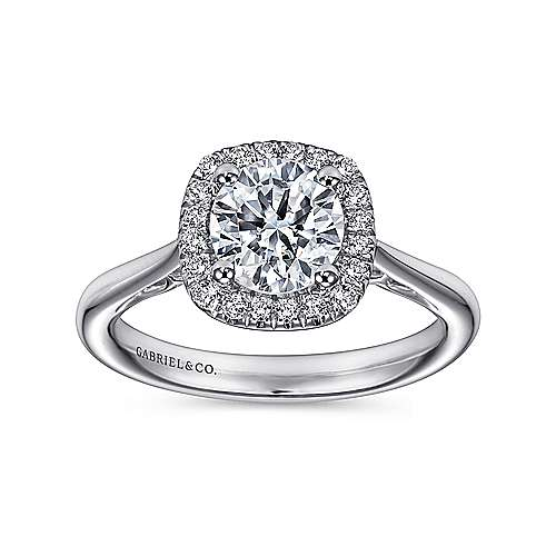 Champlain 18k White Gold Round Halo Engagement Ring angle 5