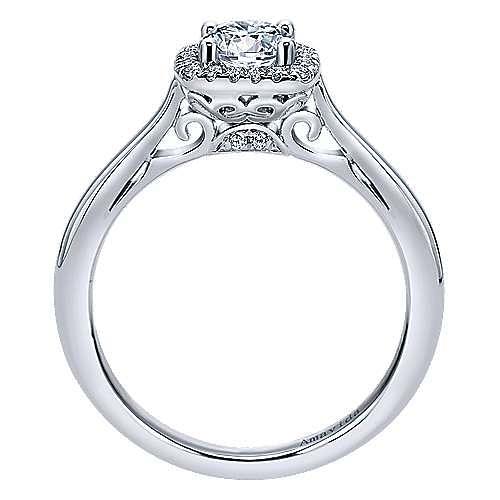 Champlain 18k White Gold Round Halo Engagement Ring angle 2