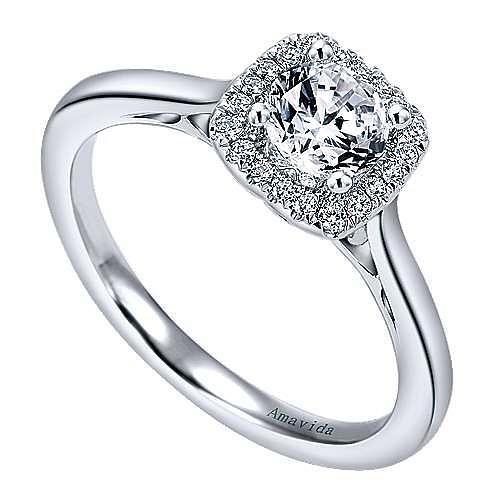 Champlain 18k White Gold Round Halo Engagement Ring angle 3