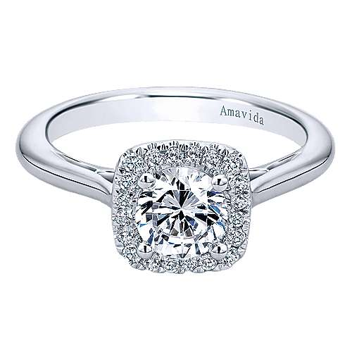 Gabriel - Champlain 18k White Gold Round Halo Engagement Ring