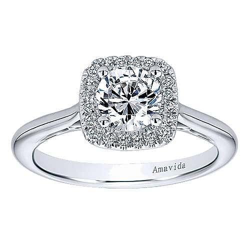 Champlain 18k White Gold Round Halo Engagement Ring angle 5