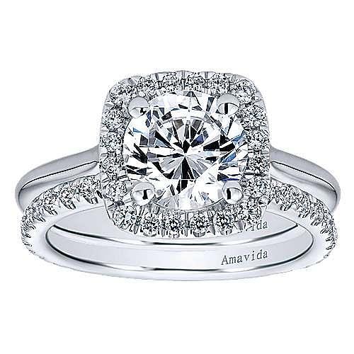 Champlain 18k White Gold Round Halo Engagement Ring angle 4