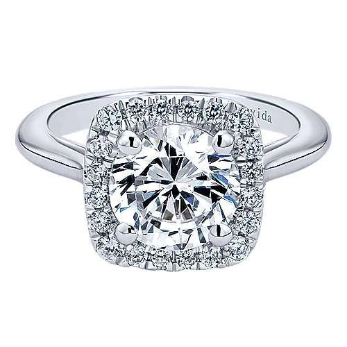 Champlain 18k White Gold Round Halo Engagement Ring angle 1