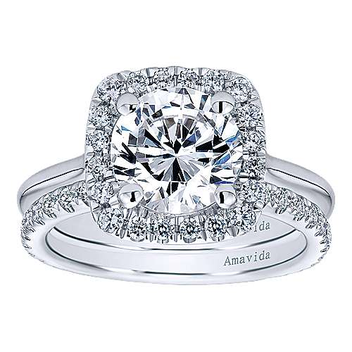 Champlain 18k White Gold Round Halo Engagement Ring angle 4