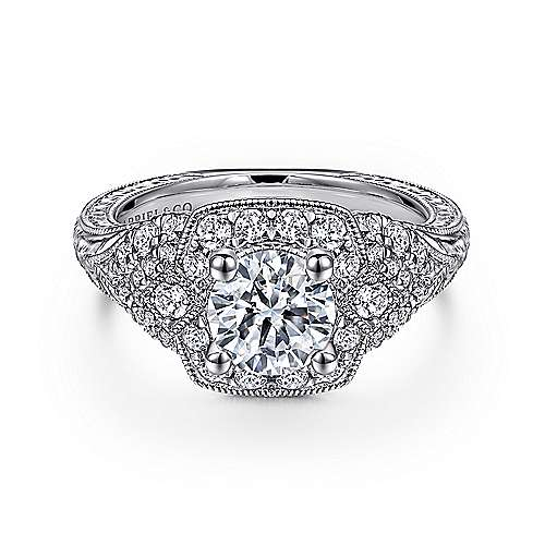 Gabriel - Chandler 14k White Gold Round Halo Engagement Ring