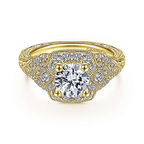 Gabriel - Chandler 14k Yellow Gold Round Halo Engagement Ring