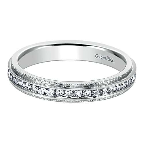 Gabriel - Channel  Eternity Diamond Ring in 14K White Gold