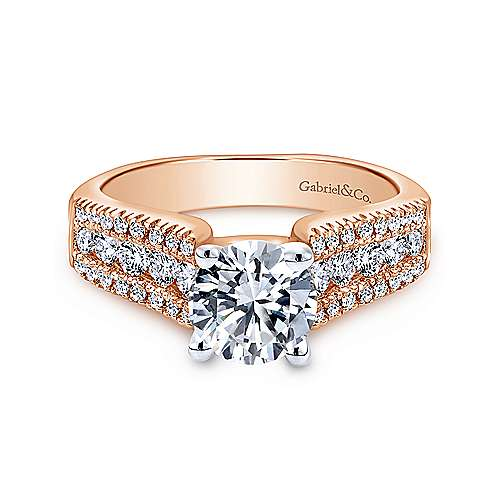 Gabriel - Channing 14k White And Rose Gold Round Straight Engagement Ring