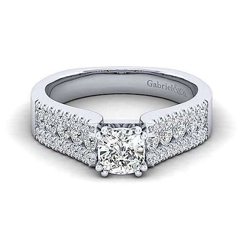 Gabriel - Channing 14k White Gold Cushion Cut Wide Band Engagement Ring