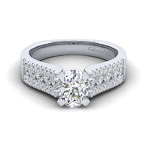 Gabriel - Channing 14k White Gold Oval Wide Band Engagement Ring