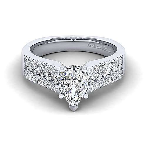 Gabriel - Channing 14k White Gold Pear Shape Wide Band Engagement Ring