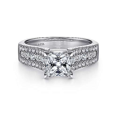 Gabriel - Channing 14k White Gold Princess Cut Wide Band Engagement Ring