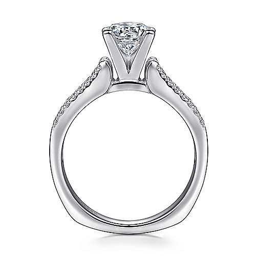 Channing 14k White Gold Round Straight Engagement Ring angle 2