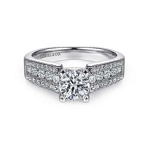 Gabriel - Channing 14k White Gold Round Wide Band Engagement Ring